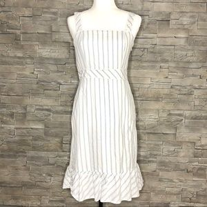 LOFT white and blue striped apron dress